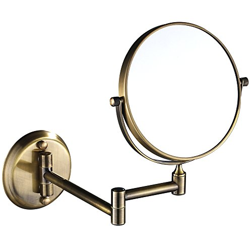 GURUN 8 Inch 10x Magnification Adjustable Round Mirror Wall Mount Makeup Mirrors,Antique Brass Finished M1306K(8in,10x) by GURUN