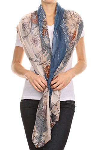 Long Lightweight scarf - Ombre scarf - with flower design - Vintage scarf - 36x68 inch - Variety of colors (36X68 Inches, Multicolor floral with (Men Looking For Plus Size Women)