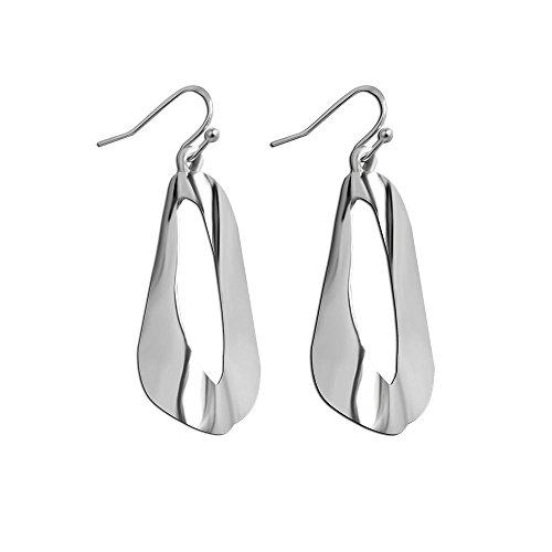 (Orris Studios Large Dangle Earrings Teardrop Hollow Out Silver Bold Silhouette)