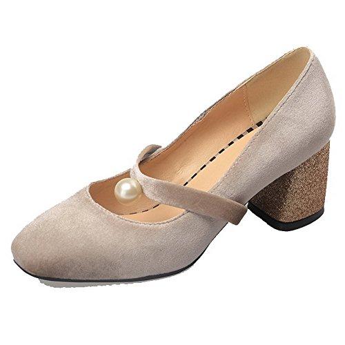 Albicocca Ballet Puro Mucca Tacco di Donna Pelle VogueZone009 Quedrata Medio Flats Tirare Punta Tvax7qwZ