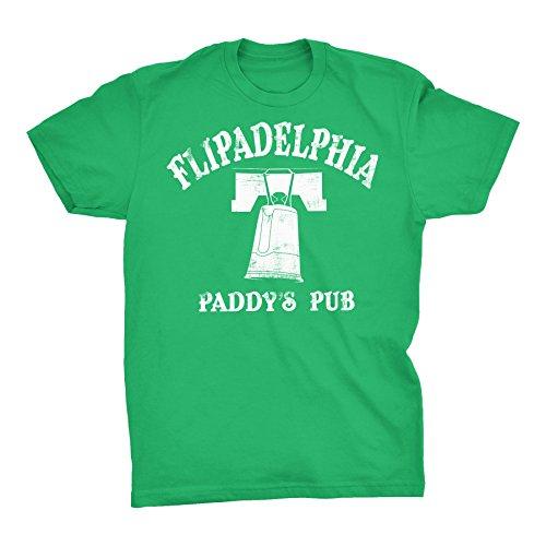 Flipadelphia - Distressed Print - Always Sunny Flip Cup - T-Shirt - Kelly - Green Ship Sunny