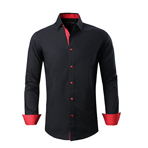 Alex Vando Mens Dress Shirts Regular Fit Long Sleeve Men Shirt(Black,Large)