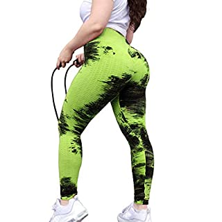 Ronyme Women's High Waist Yoga Pants Sexy Butt Lifting Stretchy Leggings Workout Running Slimming Booty Tights Black Yellow