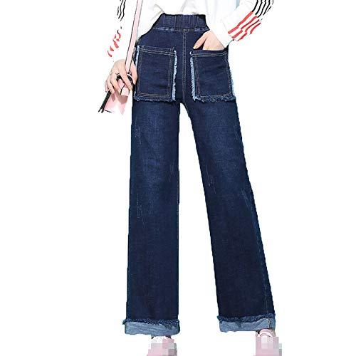 Comodo Dritti Per Regular Donna Flared Vita Jeans Pantaloni Lijinjing Signore Blue Casuale Le Denim 846nP1q