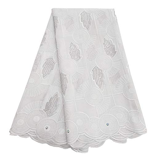 African Lace Fabric Swiss Voile Lace Dry Fabric Embroidered Fabric for Wedding Party ZS753 (White) ()