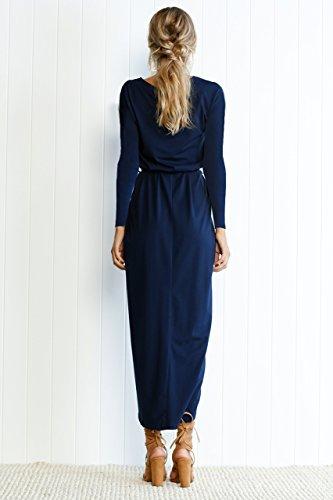 Maxi Navy Long Irregular Teeuiear Long Casual Slim Split Tie Party Autumn Dresses Dress Women's Winter Sleeve Tunic Cocktail wT7qv