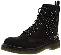 Desigual Women's Rosello Combat Boot, Black, 7.5 M US