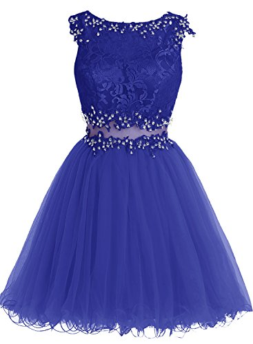 Real Azul Corto De Encaje Tul Vestido Fiesta Princesa Bbonlinedress w4CqX