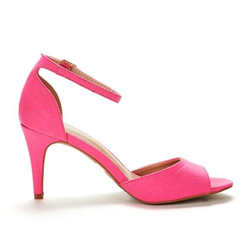 Dröm Par Womens Eileena Mode Stilettos Peep Toe Pump Krängt Sandaler Fuchsia