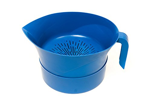 Blue Easy Greasy Plastic Strainer with Handle -3 Pc Colander Set - Ground Beef Grease Strainer (Blue) by Easy Greasy