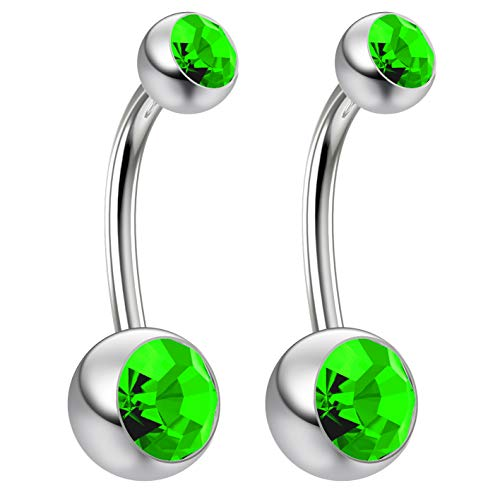2pc 14g Swarovski Crystal Belly Button Ring CZ Peridot Green Jeweled 10mm Sexy Women Navel Rings
