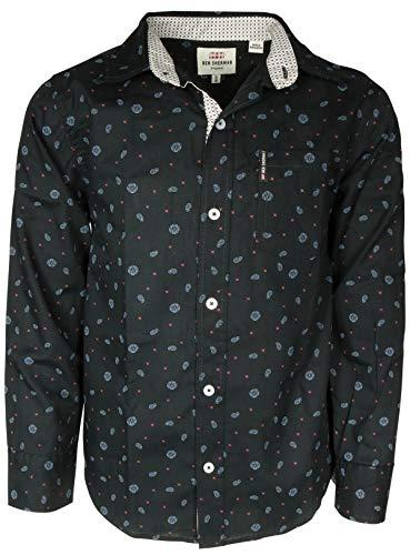 (Ben Sherman Boys Long Sleeve Button Down Shirt, Black Paisley, X-Large / 18')