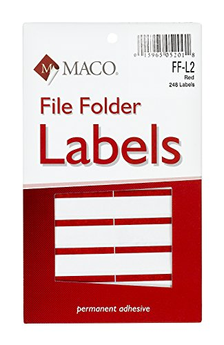 Red File Folder Labels (MACO Red File Folder Labels, 9/16 x 3-7/16 Inches, 248 Per Box (FF-L2))