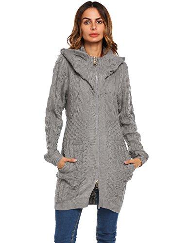 Zeagoo Womens Long Sleeve Turtleneck Hooded Aran Zipper Knitwear Cable Knit Maxi Cardigan Sweater,Medium,Grey ()