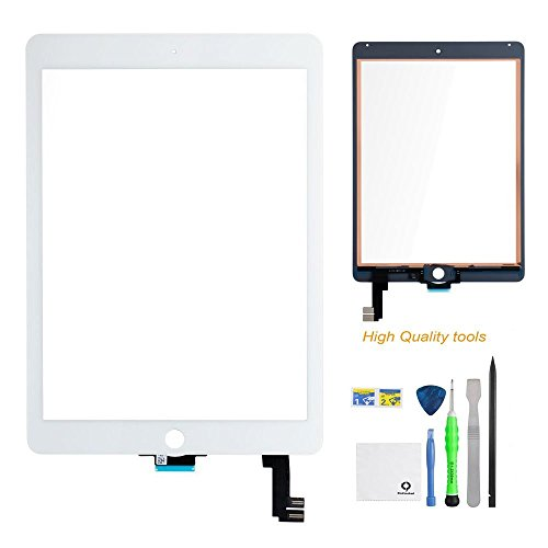 iPad air 2 Screen Replacement,FixCracked iPad air 2 Digitizer Touch Screen Front Glass AssemblyWhite- + Camera Holder + PreInstalled Adhesive with tools (Display Screen Repair)