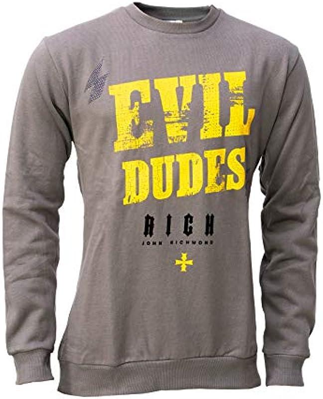 John Richmond Męskie Pullover, Sweater, grau, Größe L, Evil Dudes, Rundhals: Odzież