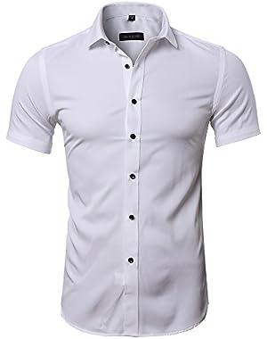 Men's Slim Fit Solid Short Sleeves Dress Shirts Elastic Bamboo Fiber Button Down Shirts