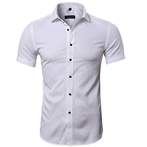 Bamboo Fiber Mens Short Sleeve Dress Shirts Slim Fit Solid Casual Button Down Shirts for Men