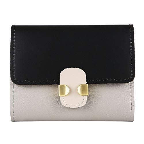 Yomiafy Women's Simple Retro Contrast Color Short Wallet Soft Leather Hasp Purse Card Holders (Black)