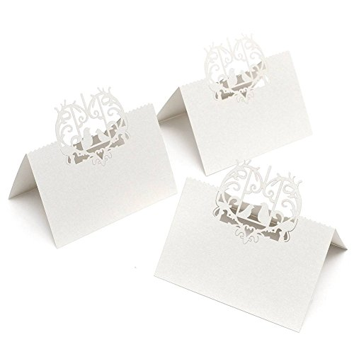 50 PCS Perfect Pair Love Birds Heart Wedding Place Card Table Guest Number Banquet Party Decoration (White) by Yodosun
