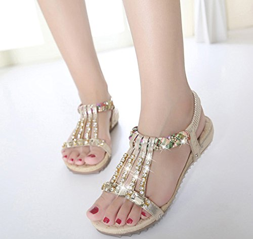 Minetom Diamantes Dorado Trenza Abalorios Sandalias Zapatos Bohemia Fashion Chanclas Planos Imitación De Elegante Verano Mujer aB1rqa