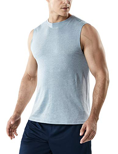TSLA Men's (Pack of 1 or 3) Workout Muscle Tank Sleeveless Gym Training Active Workout Cool Dry Top Shirt, Dyna Cotton Tank Top(mtn52) - Oxford Grey, X-Large