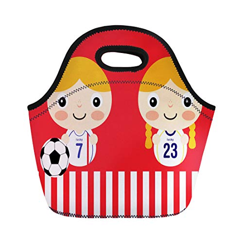 Semtomn Lunch Tote Bag Cartoon David Beckham Soccer Player Team Cup Popular World Reusable Neoprene Insulated Thermal Outdoor Picnic Lunchbox for Men Women