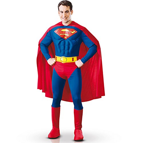 [DC Comics Deluxe Muscle Chest Superman Costume, As Shown, Large] (Super Easy Character Costumes)