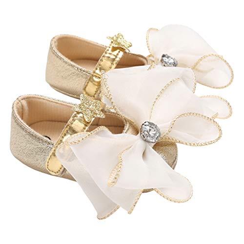 (Baby Girls Golden Trim Bowknot Sparkly Stars Mary Jane Flats Princess Dress Shoe Golden Size)