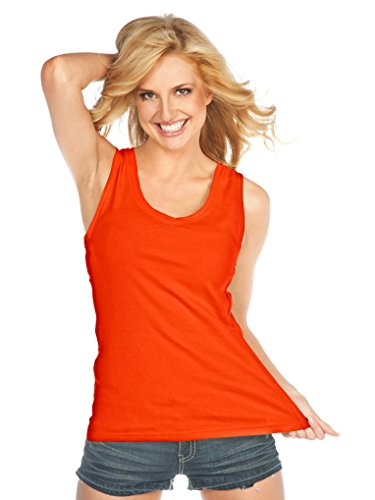 Kavio Women Raw Edge V Neck Tank, Varsity Orange, - Tank Ladies Varsity Top Rib