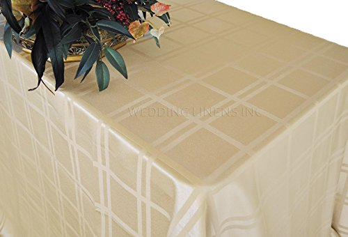 Contemporary Plaid Champagne Jacquard Tablecloth