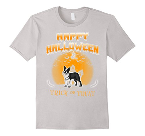 Mens Boston Terrier Dog Happy Halloween T-Shirt Large Silver - Best Boston Terrier Halloween Costumes