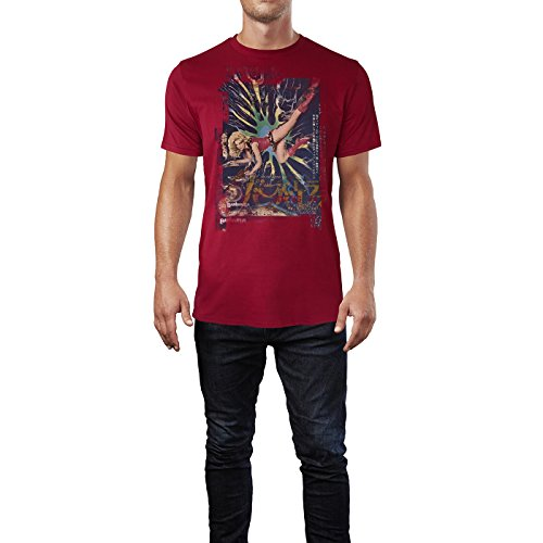 SINUS ART® Barbarella Herren T-Shirts stilvolles dunkelrotes Cooles Fun Shirt mit tollen Aufdruck
