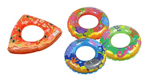 Kids Spring Summer Fun Backyard Outdoor Play Playtime Pool Lake Beach Water Inflatable Pizza Fish and Ring 30in Bundle of 3 by Toy