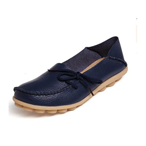 SIMPVALE Damen Mokassin Leder Loafers Fahren Schuhe Comfort Freizeit Flache Schuhe Dark Blue
