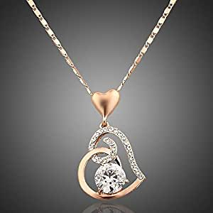 18K Rose Gold plated stellux crystals heart pendant necklace