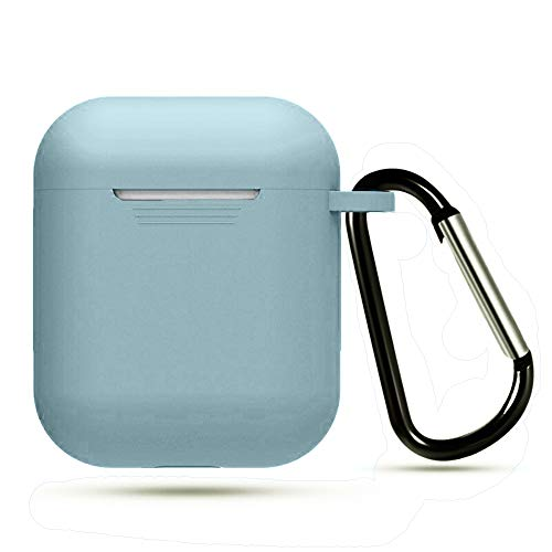 AUGEN Silicone Shock Proof Protection Sleeve Skin Carrying Bag Box Cover Case Compatible with Air-Pods 2 & 1 Wireless Headset Earphone (Air-Pod Not Included) (Sky Blue)