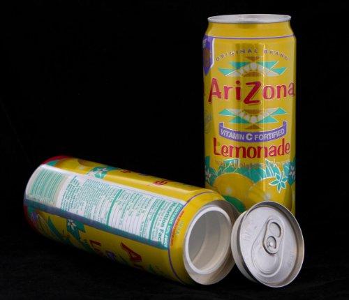 Arizona Lemonade Diversion Safe Can+Free Pack of 1 1/4 Rasta Wrap by AriZona