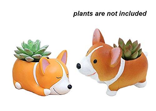 2 PCS Set Cute Animal Corgi Dog Shaped Cartoon Home Decoration Vase Succulent Cactus Plant Pot/Flower Pot/Container/Planter (Decoration Container)