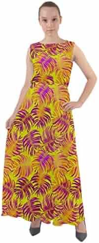 9caaa2c75c96 CowCow Womens Hawaii Hibiscus Tropical Flowers Floral Leaves Summer Beach  Chiffon Mesh Maxi Dress