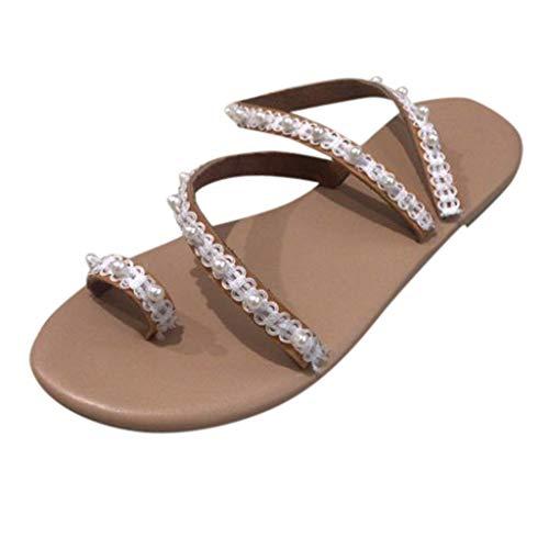 2019 Womens Retro Roman Staw Slippers Girls Beading Flowers Anti-Slip Toe Post Sandals Summer Outdoor Beach Shoes (White, US:5.5)