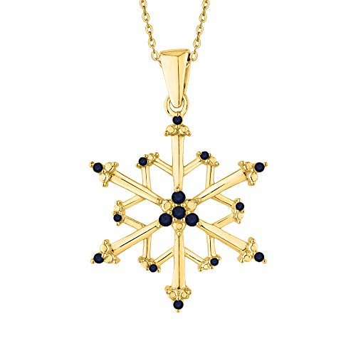 KATARINA Blue Sapphire Floral Snowflake Pendant Necklace In 10K Yellow Gold (4 1/20 cttw)