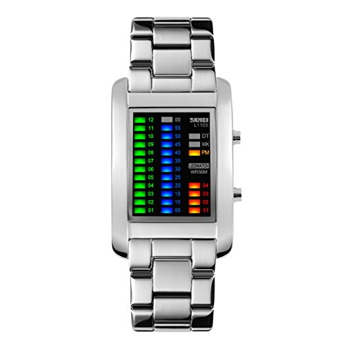 Gets Mens Design Binary Watches Unique Led Sports Watch Waterproof Creative Stainless Steel Watches For Men  Silver
