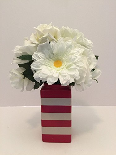 SUMMER TIME FUN - MEDIUM CERAMIC RED AND WHITE STRIPED VASE - WHITE GERBER DAISIES, ROSES, AND RHODODENDRON