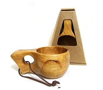 Taza de madera de estilo nórdico, hecha a mano, modelo Kuksa, portátil, para viaje, camping, etc. simple point