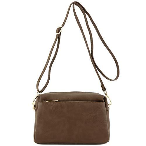 Triple Zip Small Crossbody Bag (Dark Taupe)