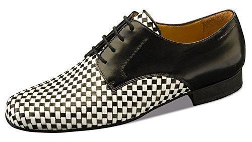 Nueva Epoca-Messieurs Tango/Salsa Chaussures de danse Cordoba-Cuir-Noir/Blanc