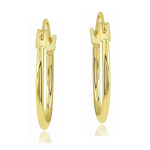 Bria Lou 14k Yellow Gold 1.3mm Round Hoop Drop Earrings, 20mm by Bria Lou