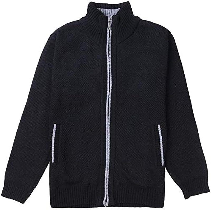 iBarabara Men Winter Cardigan Sweater Slim Fit Stand Collar Zipper Knit Jacket Coat Outwear: Odzież