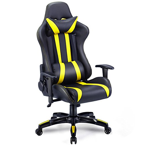 Giantex Gaming Chair Racing Style High Back PU Leather Executive Office Chair with Headrest and Lumbar Support Ergonomic Home Office Computer Desk Task Chair (Black+Yellow)
